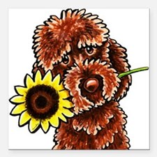 """Sunny Chocolate Labrodoodle Square Car Magnet 3"""" x"""