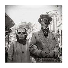 Black and White Freaky Vintage Couple Tile Coaster