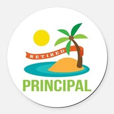 Retired Principal Round Car Magnet