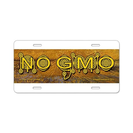 No GMO Crop Circle on Aluminum License Plate
