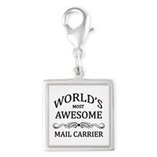 World's Most Awesome Mail Carrier Silver Square Ch