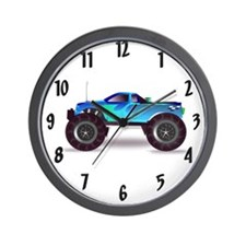 Blue Monster Truck Wall Clock