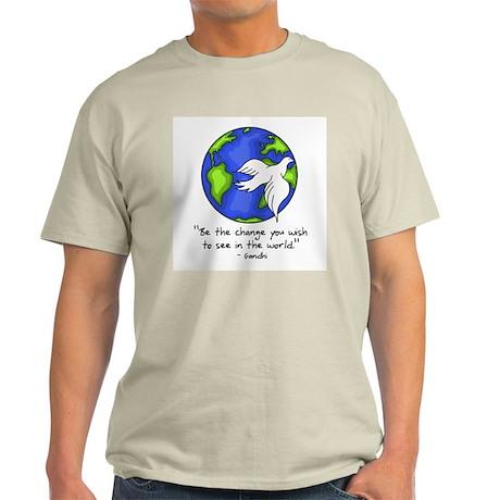 World Peace - Gandhi Be The Change Ash Grey T-Shir