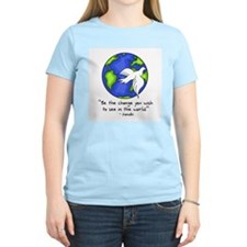 World Peace - Gandhi Be The Change Women's Pink T-