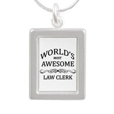 World's Most Awesome Law Clerk Silver Portrait Nec