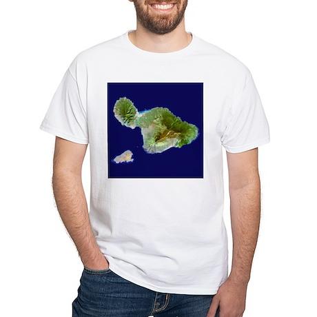 Maui & Kaho`olawe from Landsat White T-Shirt