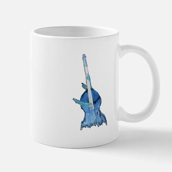 upright bass and hands blu Mugs