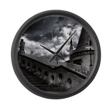 Black and White Gothic Castle Large Wall Clock