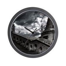 Black and White Gothic Castle Wall Clock