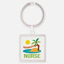 Retired Nurse (tropical) Square Keychain