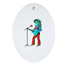 female guitar player with mic cartoon orange teal