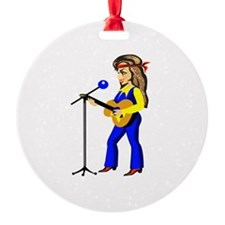 female guitar player with mic cartoon Ornament
