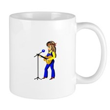 female guitar player with mic cartoon Mugs