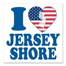 "I love jersey shore Square Car Magnet 3"" x 3"""