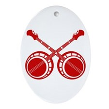 crossed banjos red Ornament (Oval)
