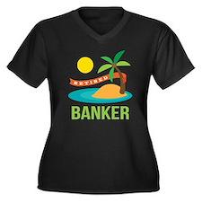 Retired Banker Women's Plus Size V-Neck Dark T-Shi