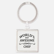 World's Most Awesome Chef Square Keychain