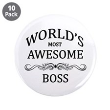"""World's Most Awesome Boss 3.5"""" Button (10 pack)"""
