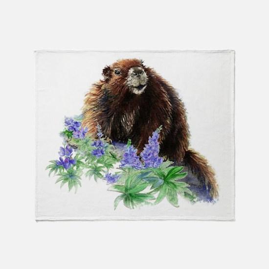 Cute Watercolor Marmot Animal in Mountain Lupin Fl