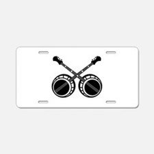 crossed banjos black Aluminum License Plate