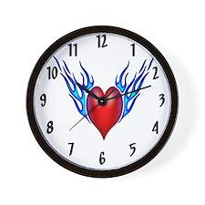 Flaming Heart Wall Clock