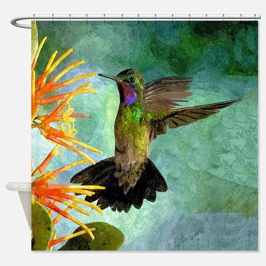 Hummingbird and Flowers Shower Curtain