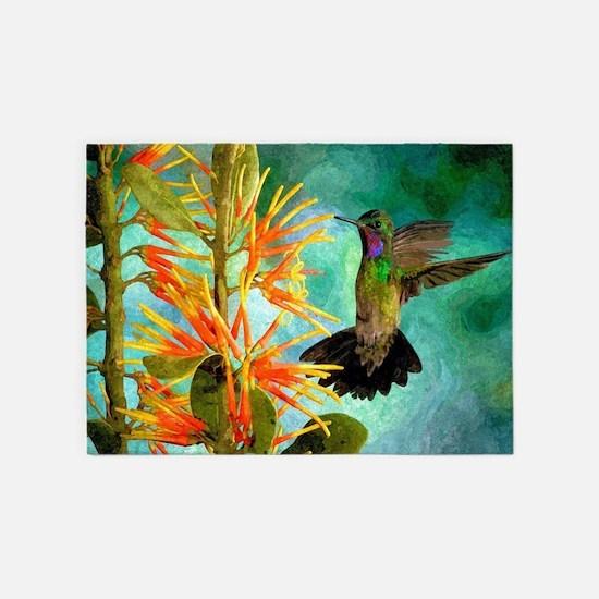 Hummingbird and Flowers 5'x7'Area Rug