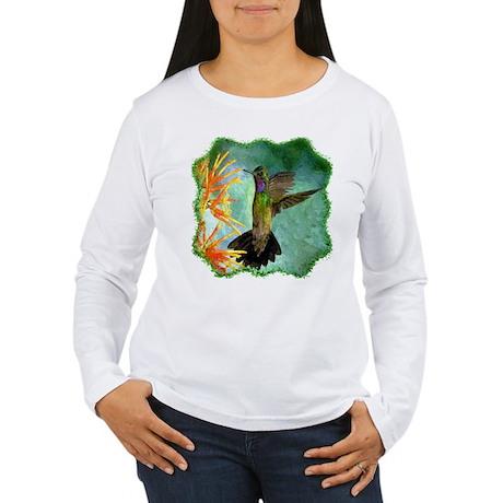 Hummingbird and Flower Women's Long Sleeve T-Shirt