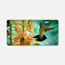 Hummingbird and Flowers Aluminum License Plate