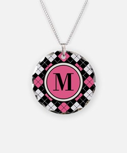Argyle Pattern Black Pink and White Necklace