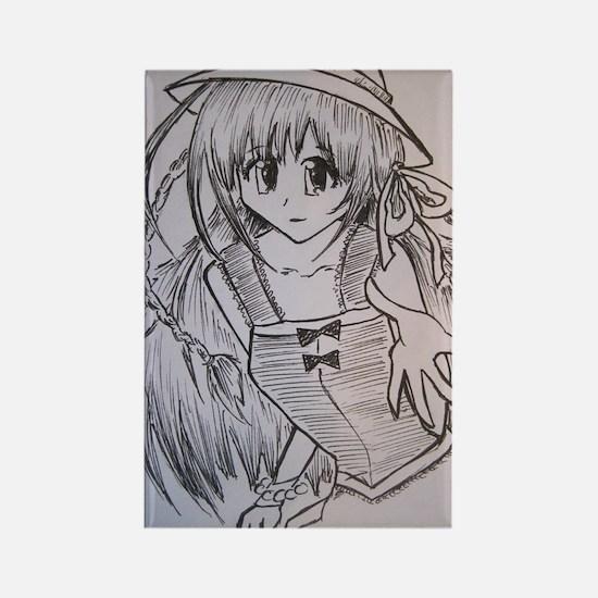 Manga girl Rectangle Magnet