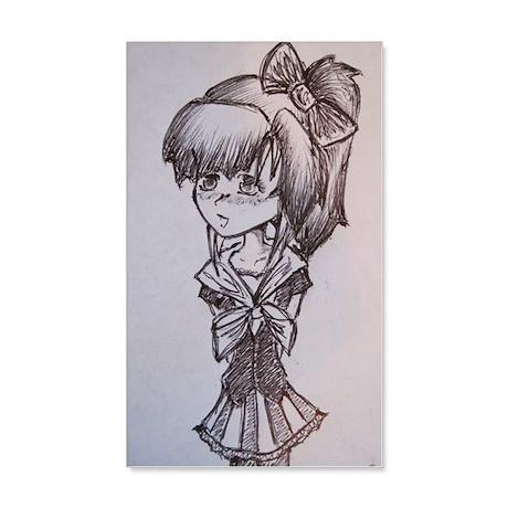 Manga girl 35x21 Wall Decal