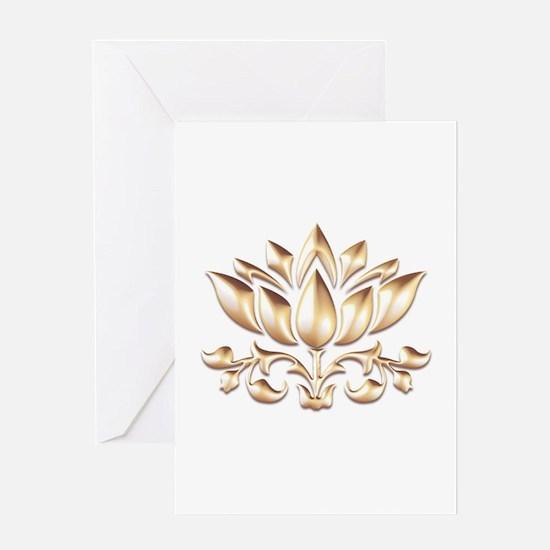 lotus gold Greeting Cards
