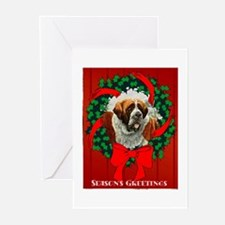 Season's Greetings St. Bernar Greeting Cards (Pack