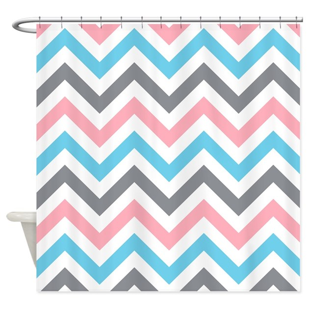 Grey Red White And Blue Chevrons Shower Curtain By Laughoutlouddesigns1