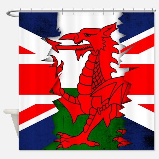 Welsh And Union Jack Flag Ripped Shower Curtain
