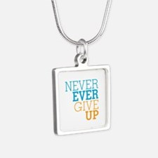 Never Ever Give Up Silver Square Necklace