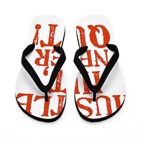 HUSTLE_HIT_1_ORANGE Flip Flops