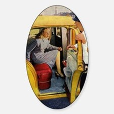 Vintage Taxi Cab Sticker (Oval)