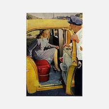 Vintage Taxi Cab Rectangle Magnet