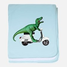 T-Rex Rides Scooter baby blanket