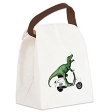 T-Rex Rides Scooter Canvas Lunch Bag