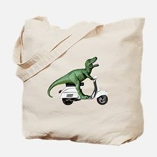 T-Rex Rides Scooter Tote Bag