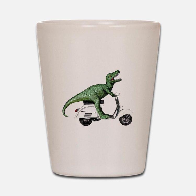 T-Rex Rides Scooter Shot Glass