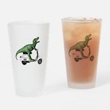 T-Rex Rides Scooter Drinking Glass