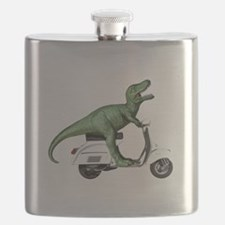 T-Rex Rides Scooter Flask