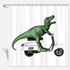T-Rex Rides Scooter Shower Curtain