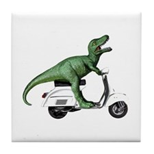 T-Rex Rides Scooter Tile Coaster