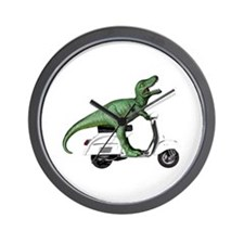 T-Rex Rides Scooter Wall Clock