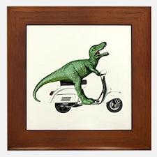 T-Rex Rides Scooter Framed Tile